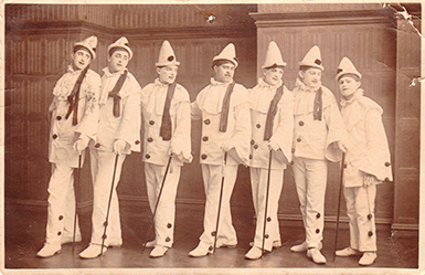 'The-Dandy-Coons'-Worthing,-Posted-1905. *The name of this group uses a racist name. This is our statement about the use of racist terms and the use of blackface in this archive. https://seasidefollies.co.uk/blackface-performance/