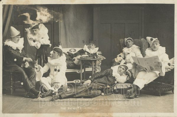 Catlin's Pierrots Colwyn Bay in costume, lounging