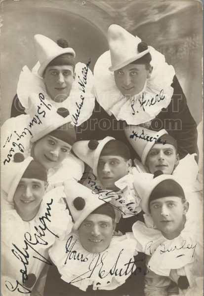 Catlin's Pierrots group-shot with signatures Colwyn Bay