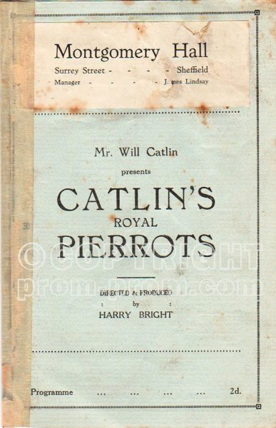 Catlin's Royal Pierrots programme, Montgomery Hall, Sheffield