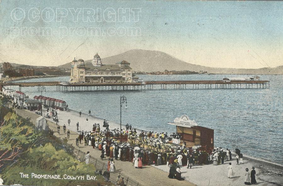 Colwyn Bay The Promenade colour postcard flat sea 1914