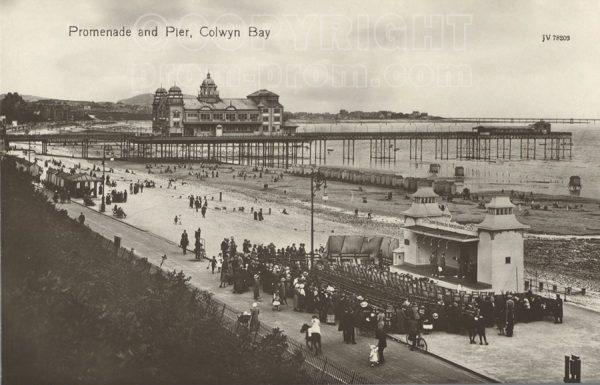 Promenade and Pier postcard Colwyn Bay