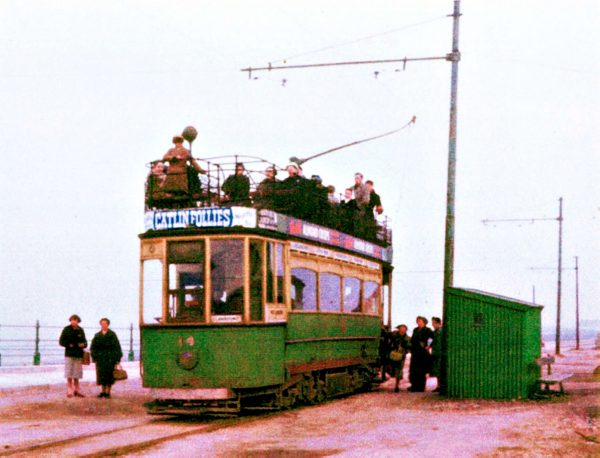 Tram - Llandudno, with Catlin's Follies advertisement