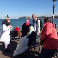 Follies-Bunny-talks-to-people-Llandudno-Promenade