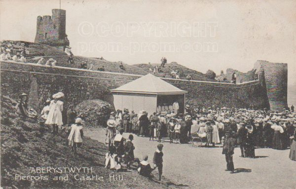 Pierrots and Castle Hill, Aberystwyth, 1907