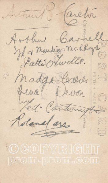 Postcard Ellison's Entertainers, Aberystwyth, 1919 (back)
