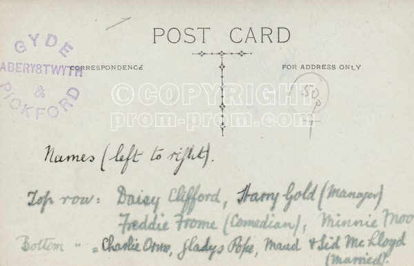 Postcard Ellison's Entertainers, Aberystwyth, (back)