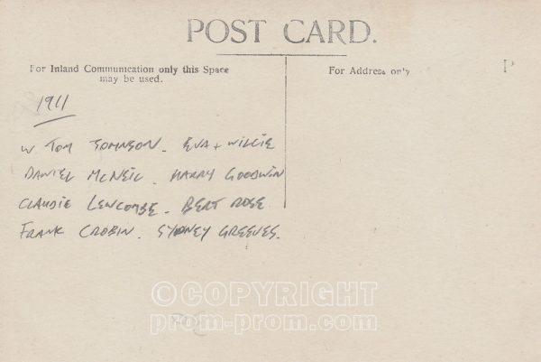 Postcard Tom Johnson's Yachstmen, Aberystwyth, 1911 (back)
