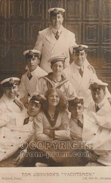 Postcard Tom Johnson's Yachstmen, Aberystwyth, 1911 (front)