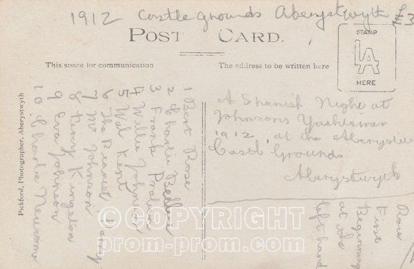 Postcard Tom Johnson's Yachtsmen, Castle-Grounds, Aberystwyth 1912 (Back)