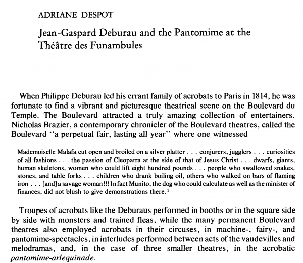 Adriane Despot - Jean-Gaspard Deburau and the Pantomime at the Theatre des Funambules