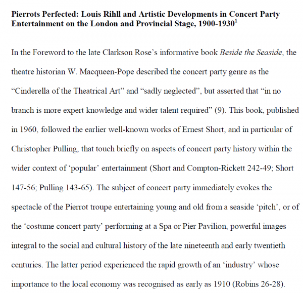 Pierrots Perfected - Louis Rihll and Artistic Developments in Concert Party