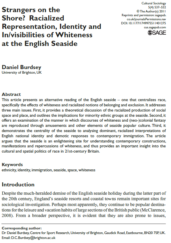 Strangers on the Shore - Racialized Representation, Identity and Invisibilities of Whiteness at the English Seaside