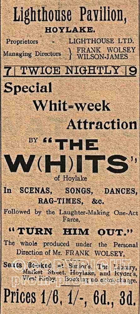1913 Whits advert Lighthouse Pavilion