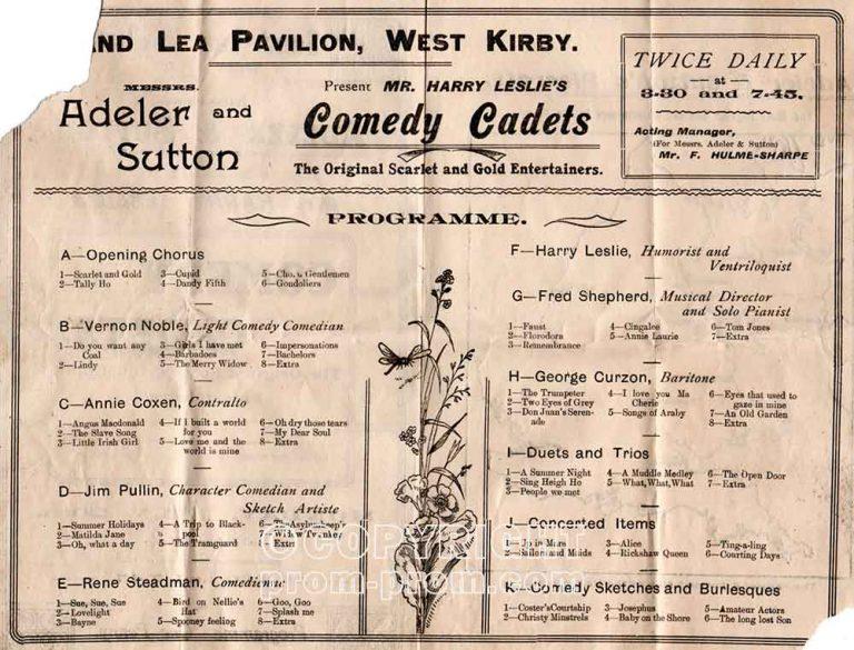 Adeler & Sutton Sandlea Pavilion programme 1912-13