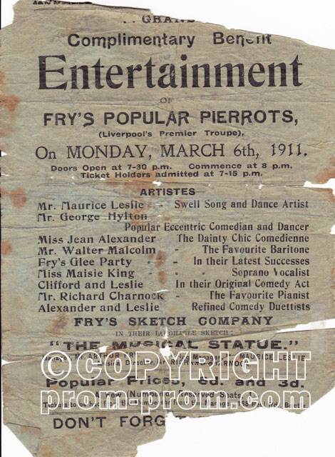 Frys Popular Pierrots Liverpool 1911 -The manager Arthur Fry live