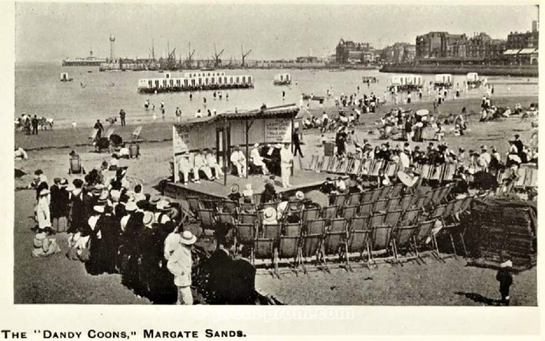 The Dandy Coons Margate Sands. *The name of this group uses a racist name. This is our statement about the use of racist terms and the use of blackface in this archive. https://seasidefollies.co.uk/blackface-performance/