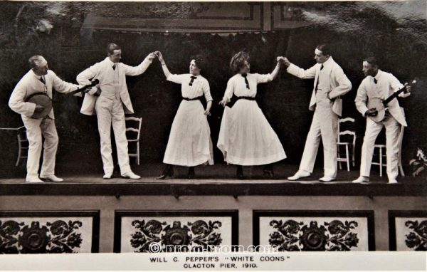 The White Coons 1910. *The name of this group uses a racist name. This is our statement about the use of racist terms and the use of blackface in this archive. https://seasidefollies.co.uk/blackface-performance/