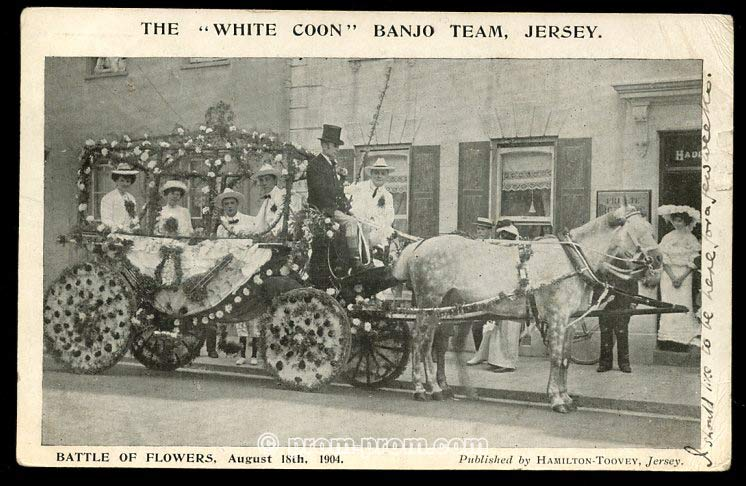 White Coon Banjo team Jersey August 18th 1904. *The name of this group uses a racist name. This is our statement about the use of racist terms and the use of blackface in this archive. https://seasidefollies.co.uk/blackface-performance/