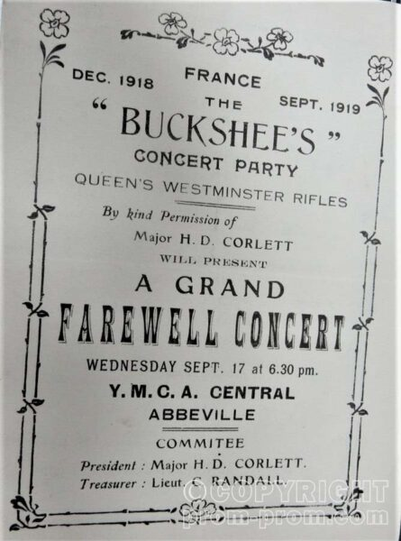 QUEENS WESTMINSTERS RIFLES BUCKSHEES CONCERT PARTY ABBEVILLE YMCA 1919, programme cover