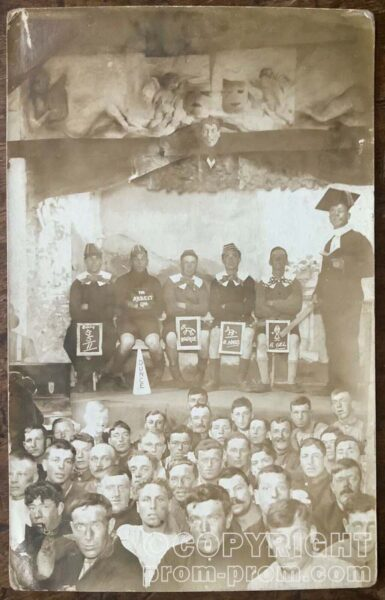 WW1 RPPC PORTRAIT OF P.O.W CONCERT PARTY ST.QUACKHAM ACADEMY GERTOFF KIEL CAMP