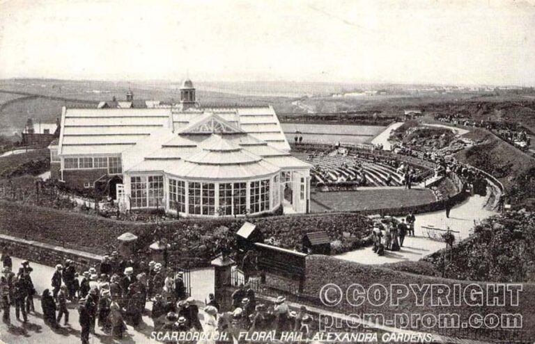 A Postcard depicting the Floral Hall and Alexandra Gardens, Scarborough - Courtesy Adrian Spawforth from his wonderful site 'Postcards of Scarborough'