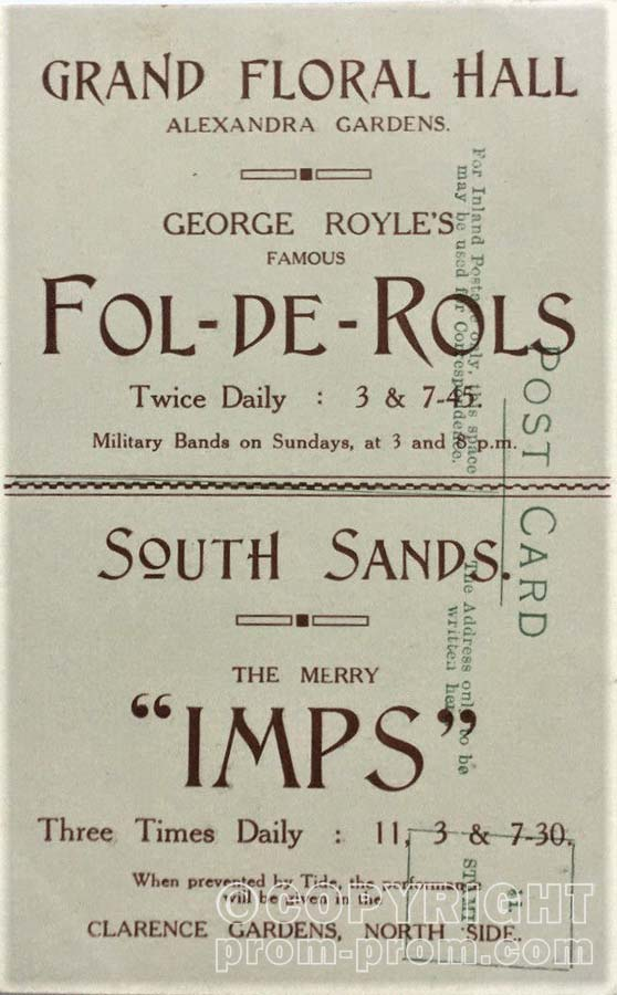 Scarborough Printed Postcard Of George Royle's Fol-de- Rols And Merry Imps (back)