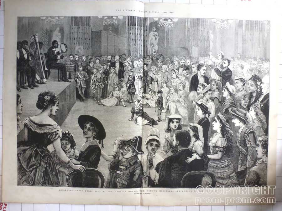 1876 Mohawk Minstrels Performing Egyptian Hall, Mansion House