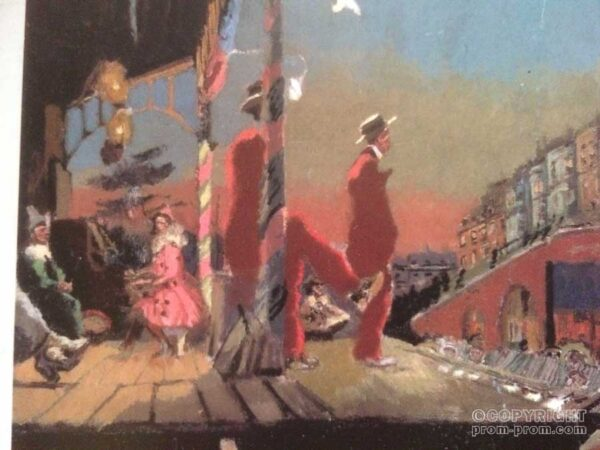 Postcard Pierrots on stage evening pastel drawing