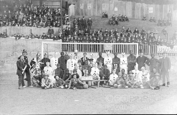 Pierrots v Coons footbal match at Norwich Football 'Nest' ground, 1910 (Norwich City Historical Trust archive)