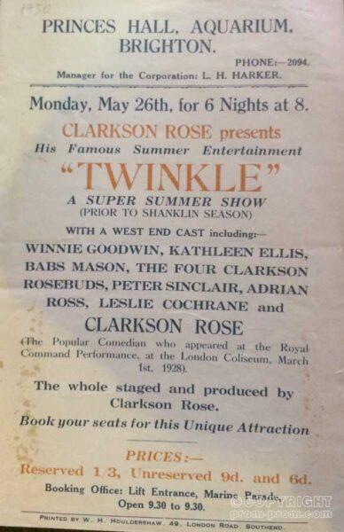 Poster Twinkle Princes Hall Aquarium Brighton 1930