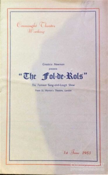 Songsheet The Fol de Rols, Connaught Theatre, Worthing1953