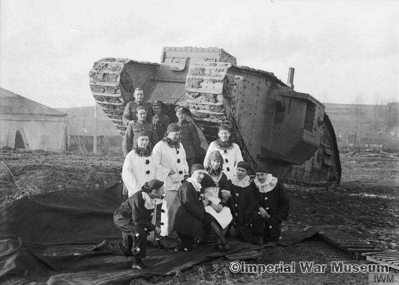 The concert party at the Central stores, Tank Corps. Teneur, spring 1918.