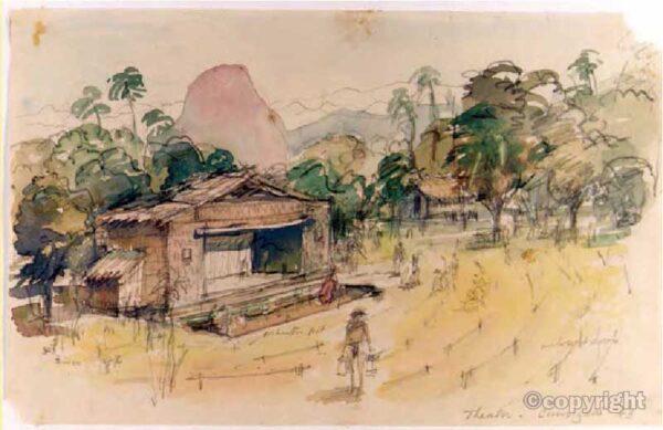 Watercolour of Chungkai Theatre, Burma by Jack Chalker