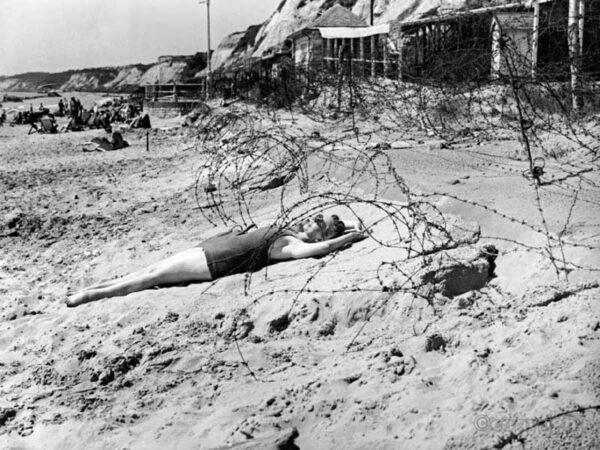 Woman on Bornemouth beach 1944