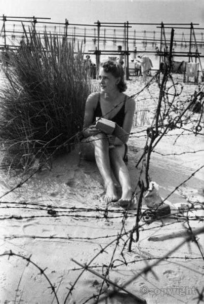 Woman on Bournemouth beach 1944
